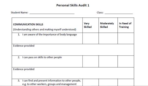 template for students personal skill audit template for students skills4work project