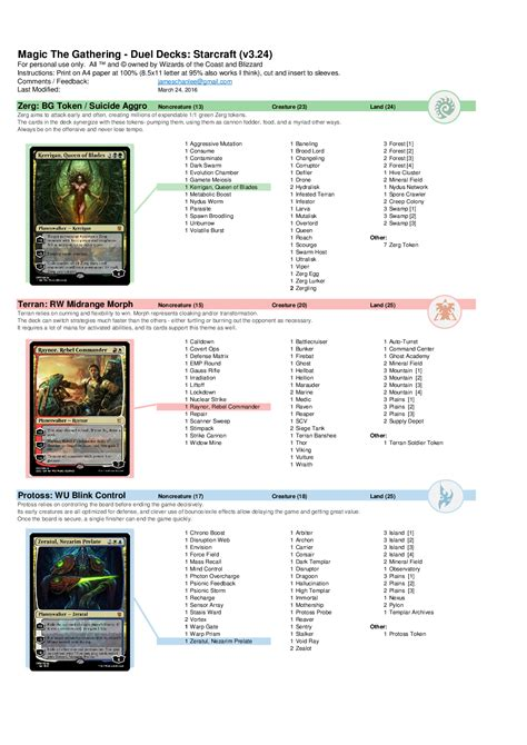 Mtg Deck Register Sheet by Magic The Gathering Meets Starcraft In Amazing Custom