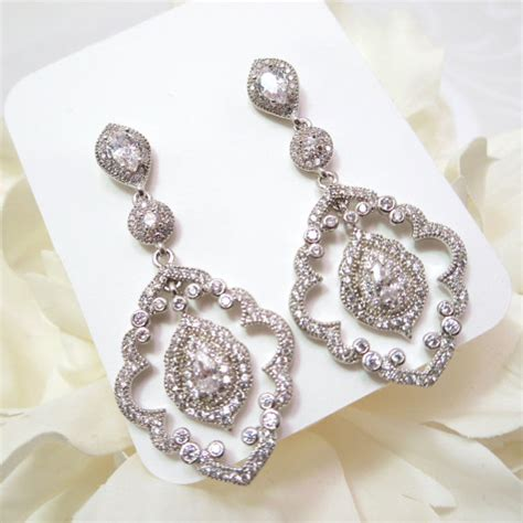 deco chandelier earrings cz bridal earrings