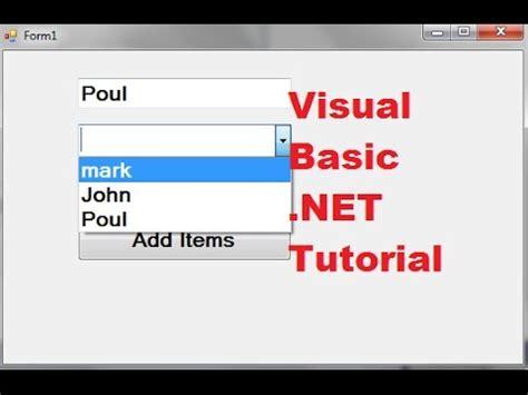 visual basic net tutorial      combobox