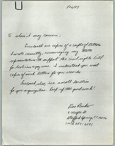 Handwritten, Letter, From, Don, Baker, Regarding, Letters, To, State, Representatives, For, Gay, Rights
