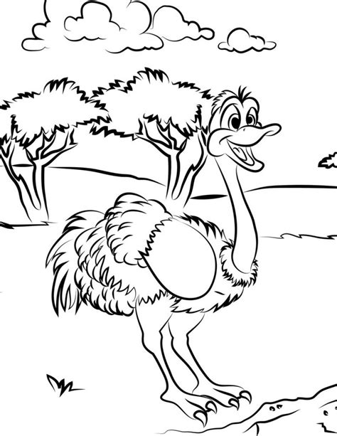 Coloring Pictures by Free Printable Ostrich Coloring Pages For