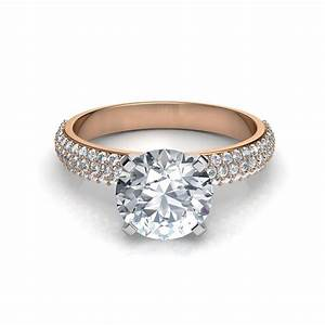 Trio micro pave round cut engagement ring for Pave wedding rings