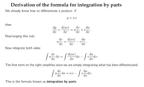 Integration By Parts Tutorialbyte