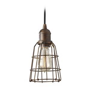 industrial vintage mini pendant light with cage shade
