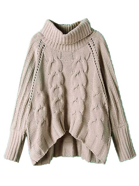 chunky womens sweaters gray high neck chunky cable sleeve sweater choies