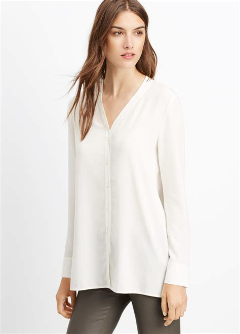 white button up blouse lyst vince silk button up blouse in white