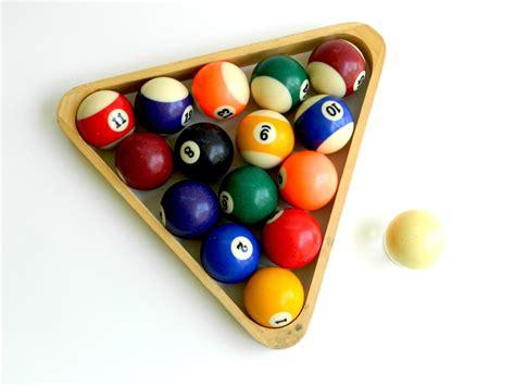 how to rack pool balls vintage pool billard balls set wood rack triangular form cue