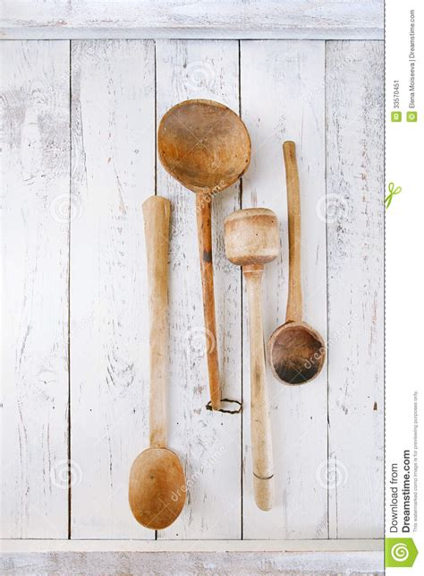 retro kitchen utensils wood spoon   wooden table  rustic stock image image
