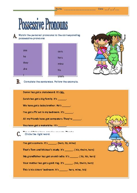 117 free possessive pronouns worksheets teach possessive