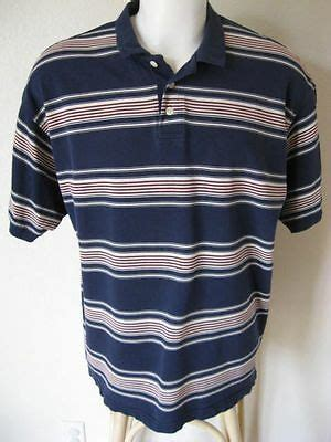 mens polo shirt xl trader bay dark blue stripe casual