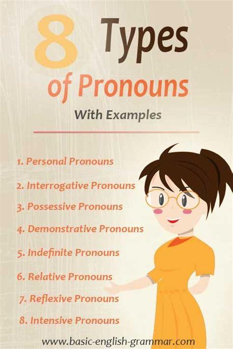 types  pronouns  english grammar  examples