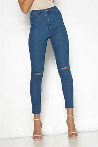 Eliza Denim High Waisted Ripped Skinny Jeans
