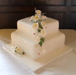 two tier wedding cake calla lilly two tier square wedding cake