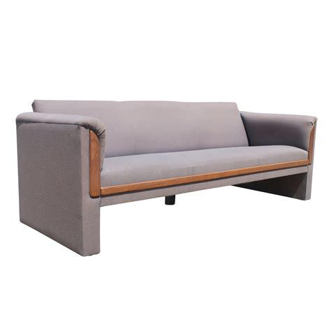 (2) Mid Century Modern Sofa Couch With Walnut Trim Ebay