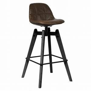 Chaise Haute Industrielle : chaise haute de bar industrielle assise dossier aspect cuir gaufre marron cbr 619 one mobilier ~ Teatrodelosmanantiales.com Idées de Décoration