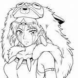 Ghibli Coloring Mononoke Princess Anime Totoro Tattoo Manga Coloriage Dessin Colorear Princesa Princesse Ponyo Kawaii Prinzessin Wolf Samurai Tattoos Lineart sketch template