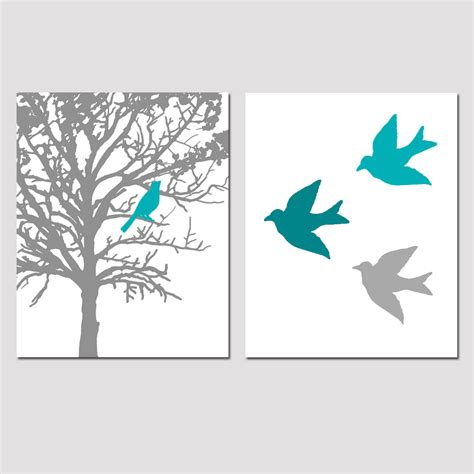 gray and teal bathroom wall decor set of two 8x10 prints birds and trees for