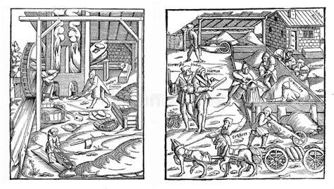 Mittelalter, Bauern, Die Im Bau Arbeiten Stock Abbildung