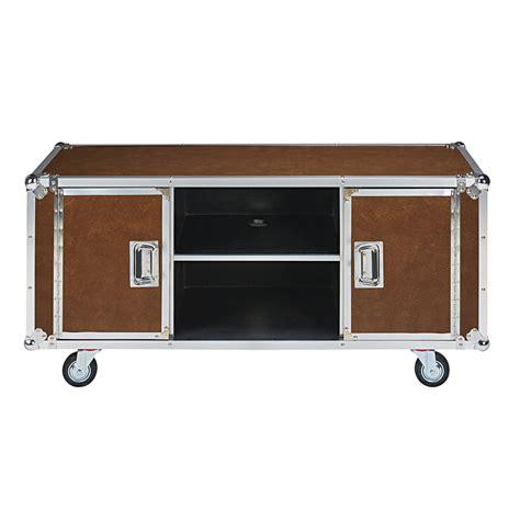 meuble tv roulettes meuble tv 224 roulettes en textile enduit camel cin 233 ma maisons du monde