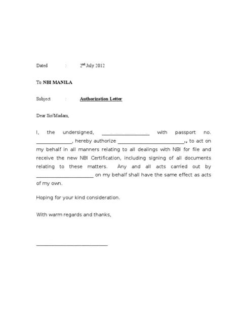 authorization letter samples  act  behalf word