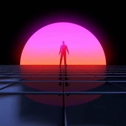 Neon Retro 80s Synthwave Waves Sunset Aesthetic