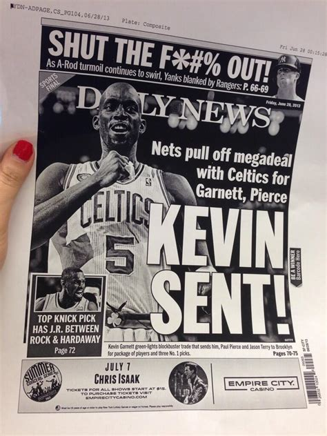 Kevin Garnett Welcomed by Daily News Headline of 'Kevin ...