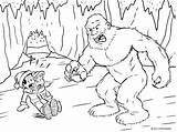 Yeti Coloring Printables Cave Inside Abominable Winter Snowman Timvandevall Scene Tessa Depicting George Confronting Ferocious sketch template