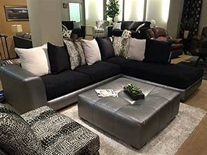 roundhill furniture shimmer pewter microfiber sectional With black microfiber sectional sofa with ottoman