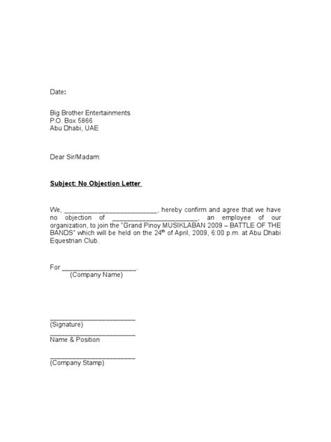objection letter