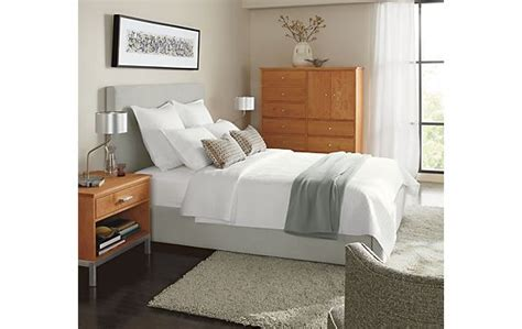 room and board mattress wyatt bed with linear in cherry modern bedroom furniture