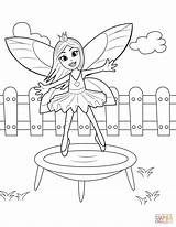 Coloring Trampoline Jumping Pages Fairy Printable Drawing sketch template
