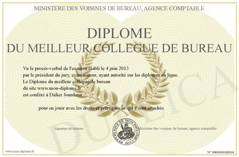 collegue de bureau diplome du meilleur collegue de bureau