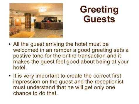 receiving  welcoming  guest
