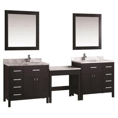 home depot makeup vanity design element two 36 in w x 22 in d vanity in