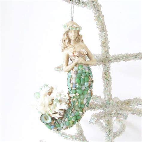 mermaid ornaments mermaid ornament seashells coral tree coastal decor turquoise seafans trees