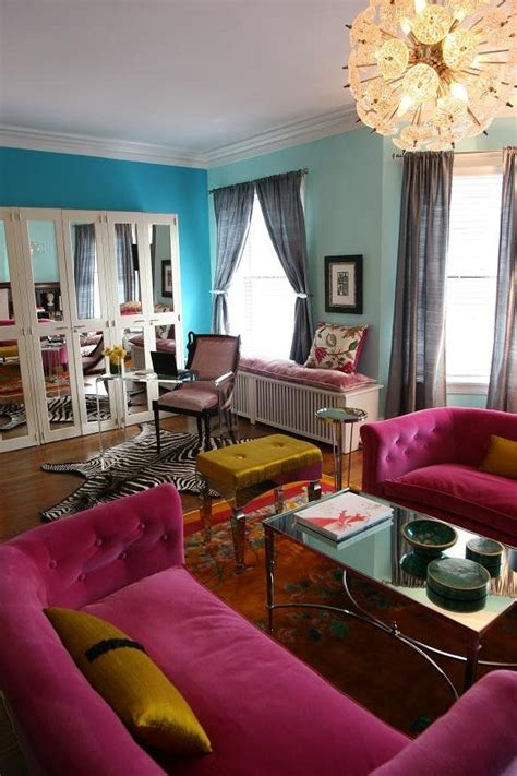 teal livingroom bright colours living room teal wall blue wall pink