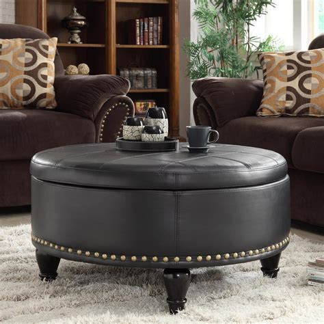 brown ottoman coffee table chocolate brown sofa living room ideas combined with round