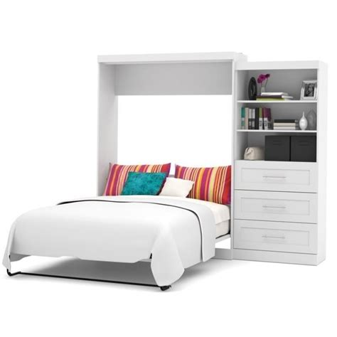 bestar pur queen wall bed with storage in white 26881 17