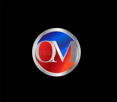 om initial circle shape silver red blue color  logo design stock vector illustration