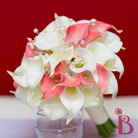 Coral Cream Salmon Calla Lily Real Touch Wedding Bouquet