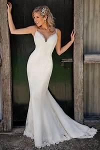 spaghetti straps v neck lace mermaid wedding dress cute With spaghetti strap wedding dress