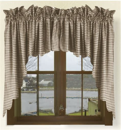 brown gingham check scalloped window swag valance set