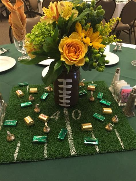 sports centerpieces for tables edison football banquet mason jar football with turf