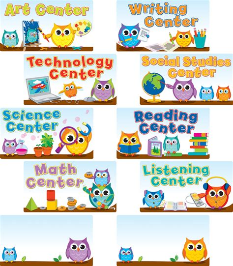 colorful owls center signs mini bulletin board set grade 341 | 110274
