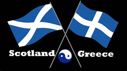 Scotland Greece Greek Scottish Flags Half Unicorn