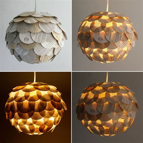 artichoke mixed book page pendant light hanging paper