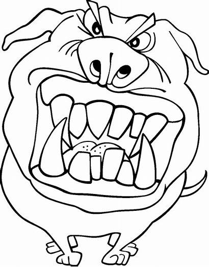 Coloring Funny Pages Printable Dog Scary Face