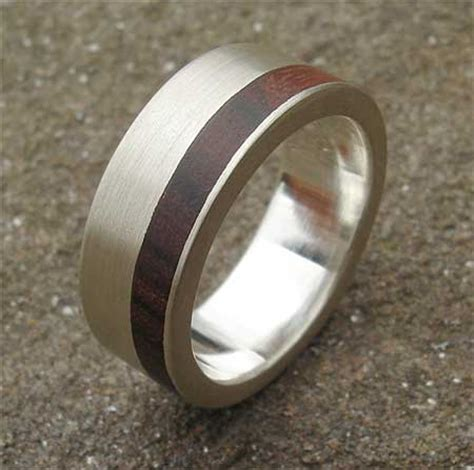 mens silver with wood inlay ring
