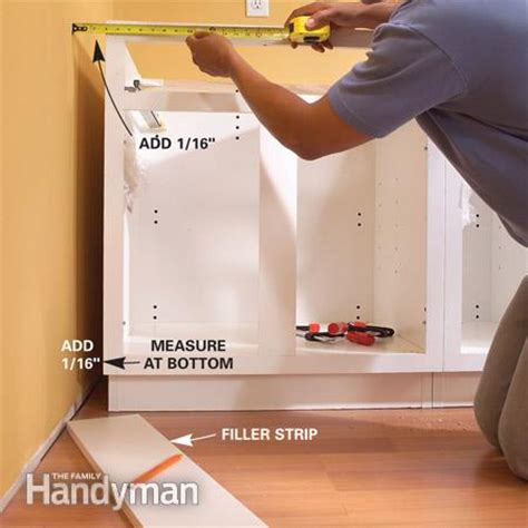 installing cabinet filler pieces installing kitchen cabinets the family handyman